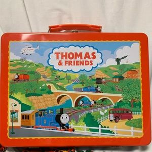 Thomas & friends metal carrying case and trains.